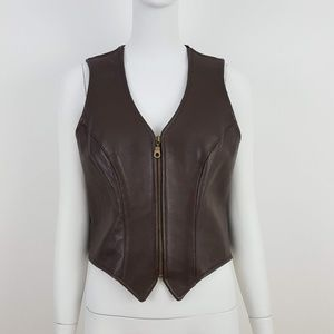 VINTAGE Brown Leather Boho Western Zip Up Vest M